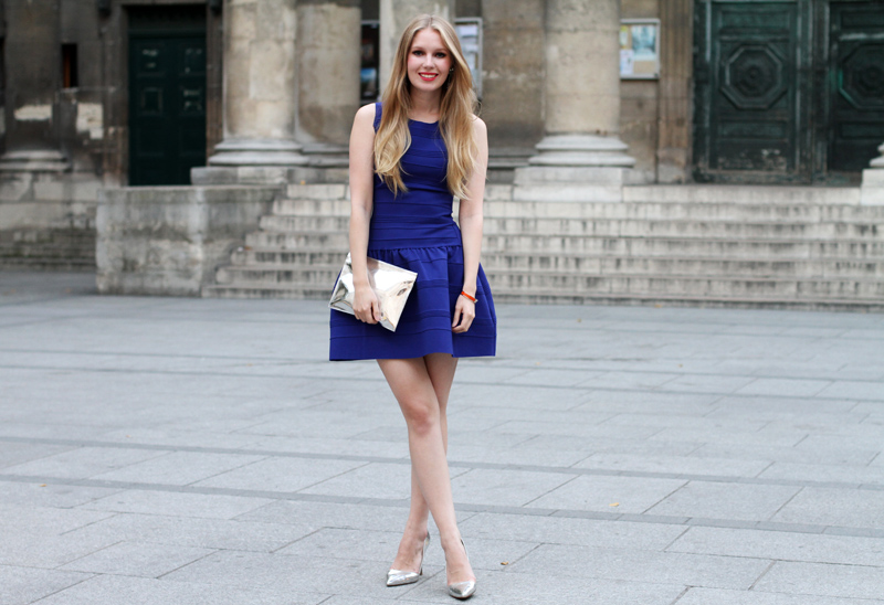 maje, electric blue dress, paris, monki, mirror clutch, hrmes, elizabeth cole earrings