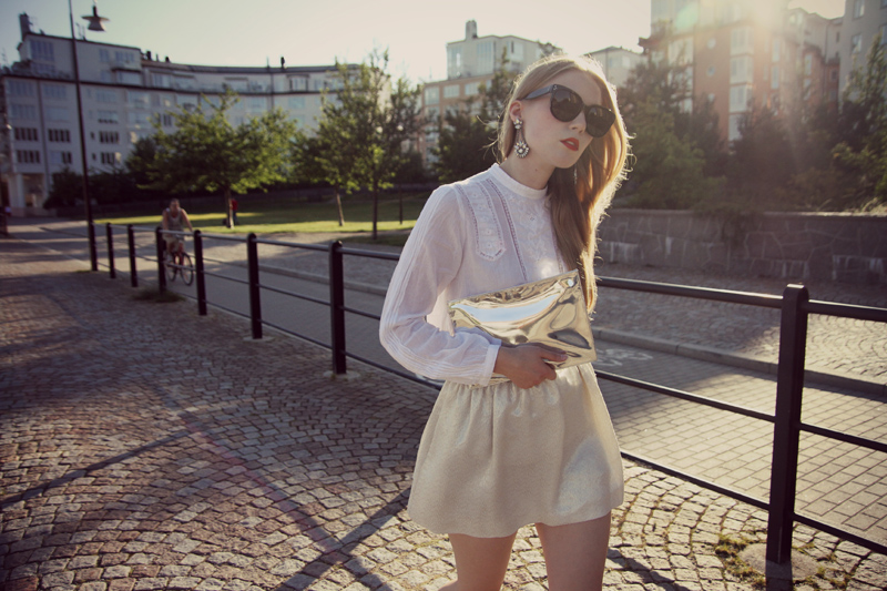 carolina engman, maje skirt, zara blouse, celine sunglasses, outfit, metallic bag