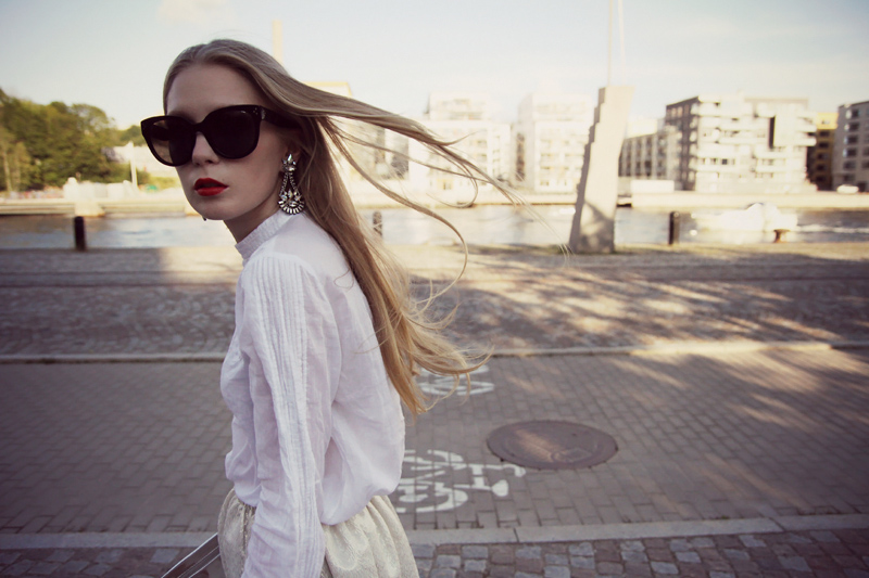 carolina engman,maje skirt, zara blouse, celine audrey sunglasses, metallic bag