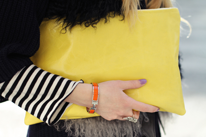 American Apparel bag.  Karen Walker sunglasses.  Indiska striped top.