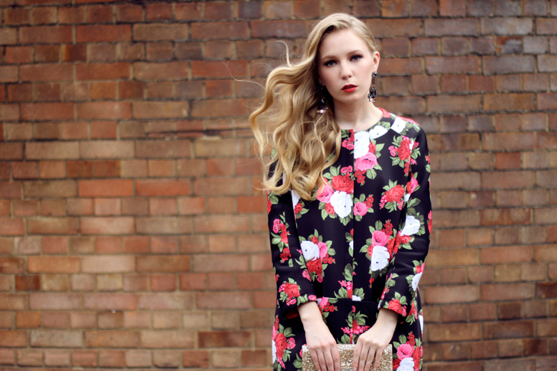 msgm, floral coat, scuba, anya hindmarch, glitter clutch, mawi earrings, my-wardrobe, carolina engman, fashionsquad, outfit