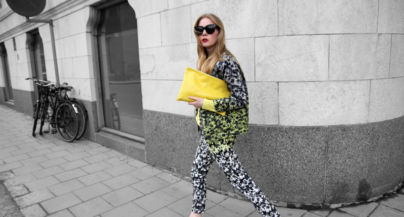 carolina engman, H&M flower suit, celine audrey sunglasses, american apparel yellow clutch, fashionsquad, neon,