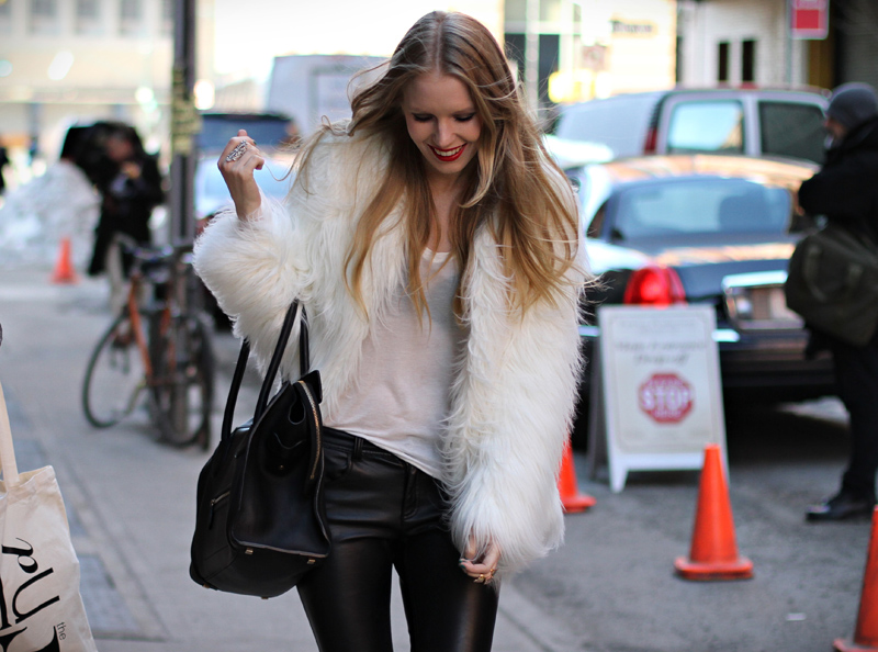 carolina engman, celine bag, white faux fur, zara, new york