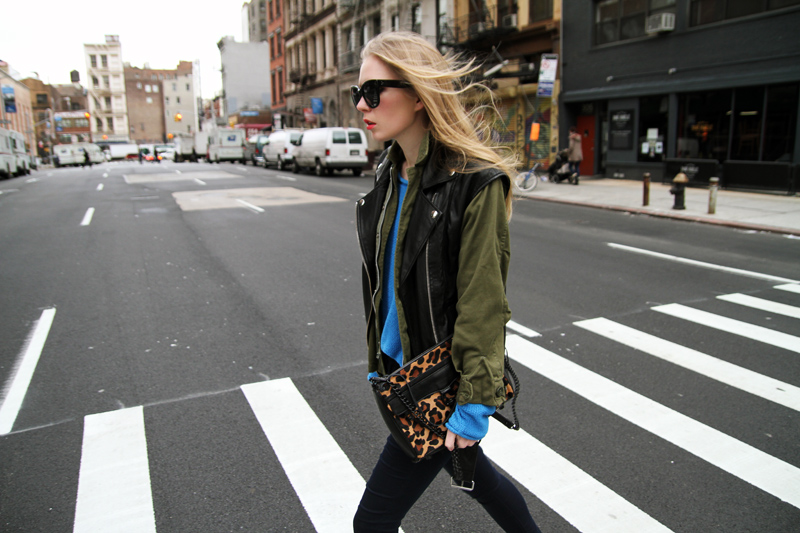 carolina engman, leather vest over army jacket, celine audrey sunglasses, rebecca minkoff leopard bag