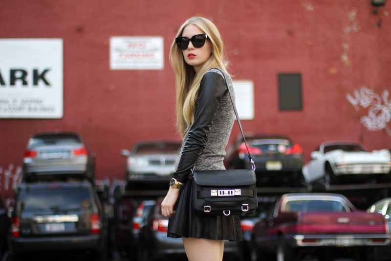 carolina engman, leather sleeve top, proenza schouler ps11 bag, leather skirt