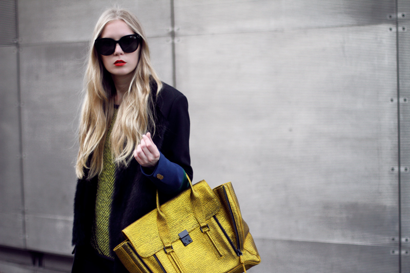 Carolina Engman, 3.1 Phillip Lim pashli satchel in gold, celine audrey sunglasses, preen coat