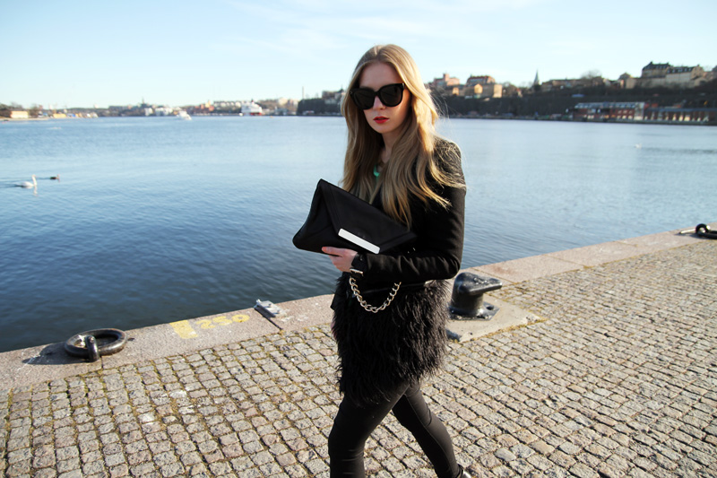 carolina engman, werelse for mango bag, celine audrey sunglasses, black jacket