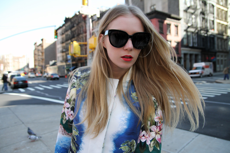Carolina Engman, Stella McCartney, hawaii print jacket, celine audrey sunglasses