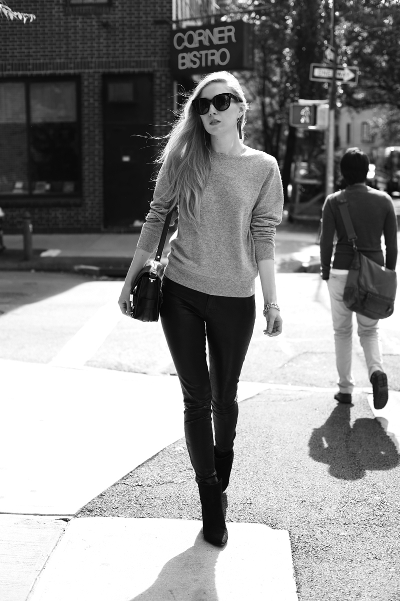 cashmere sweater and leather pants via fashionsquad