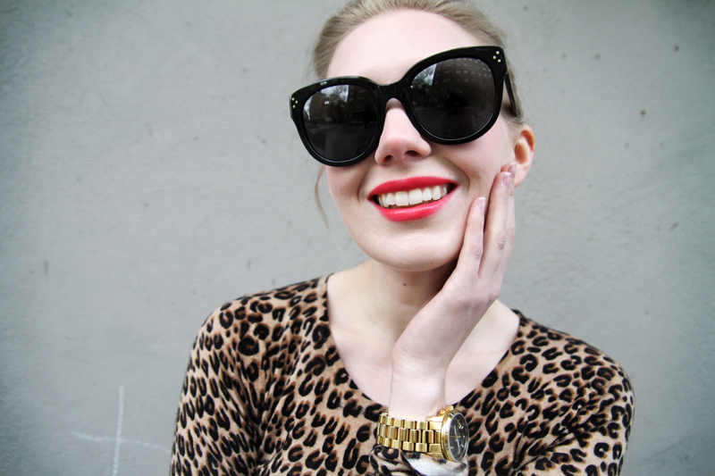 carolina engman, celine audrey sunglasses, michael kors watch, crumpet leopard cashmere top