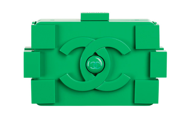 chanel, lego, bag, clutch, green