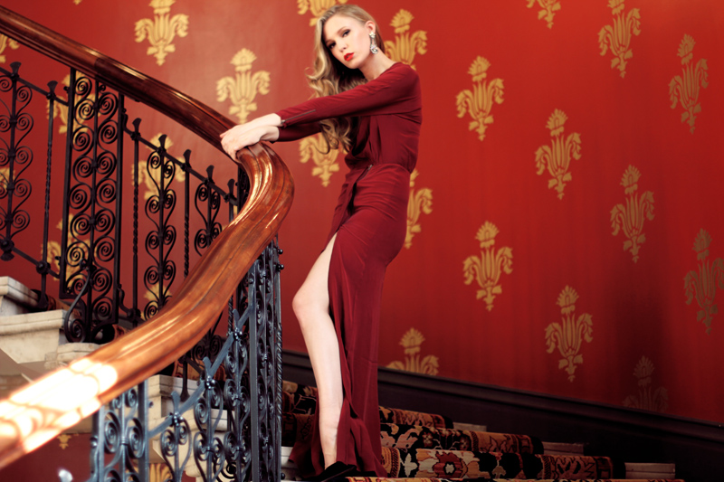 Carolina Engman, Dagmar dress, st pancras hotel, staircase, outfit, red dress