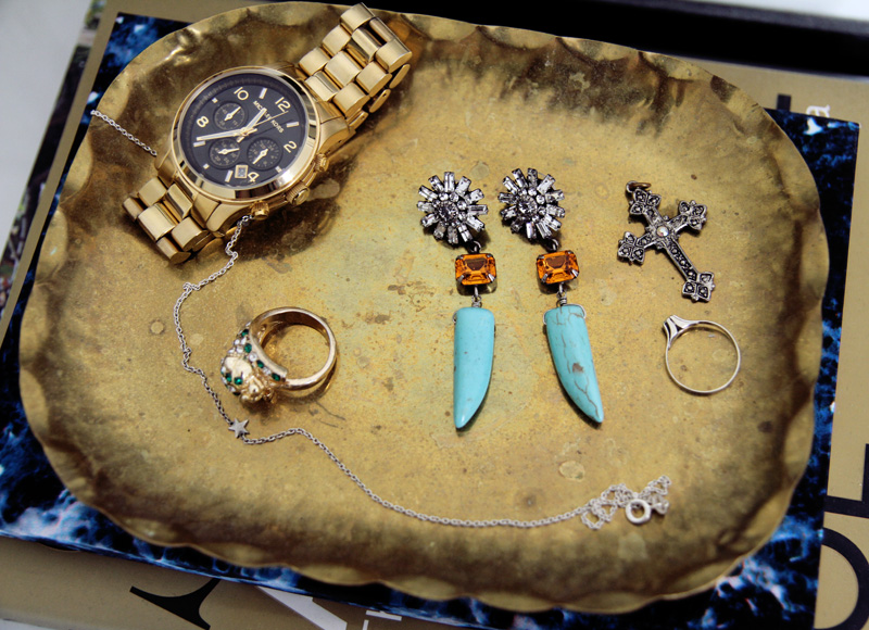 Dannijo earrings, michael kors watch, cross pendant, topshop ring, anine bing x cooee, carolina engman, fashionsquad