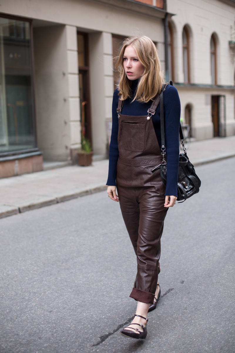 Ganni Leather Dungarees