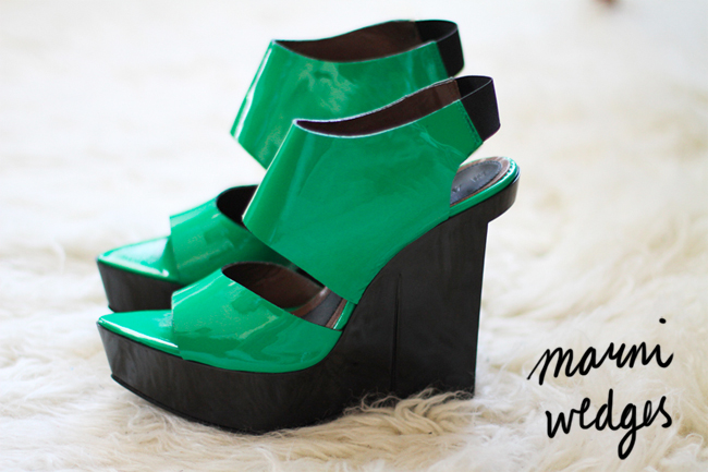 green, patent, marni, wedges,