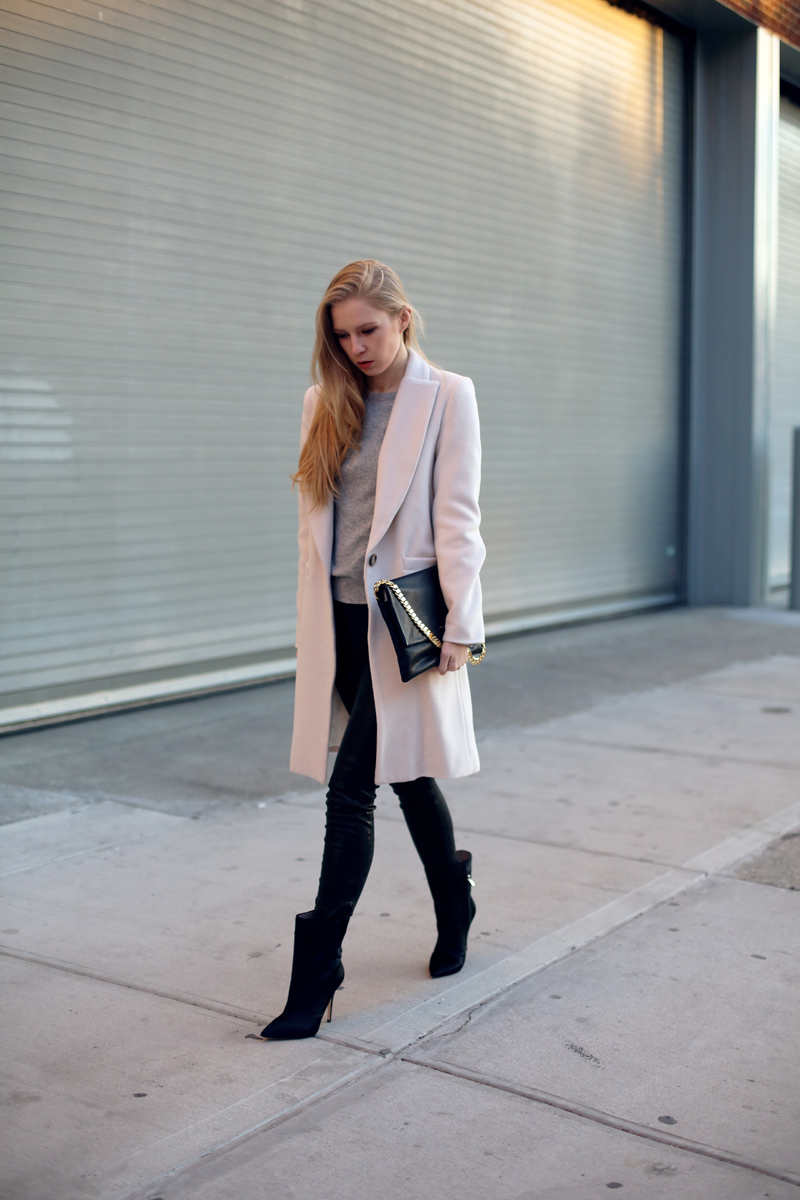 ivory coat and leather pants