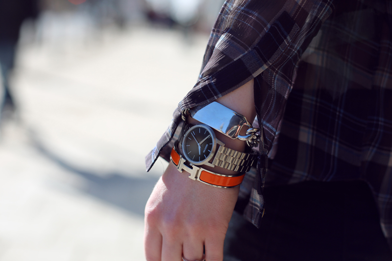 Asos ID-bracelet, Nixon watch, &amp; Hrmes bracelet