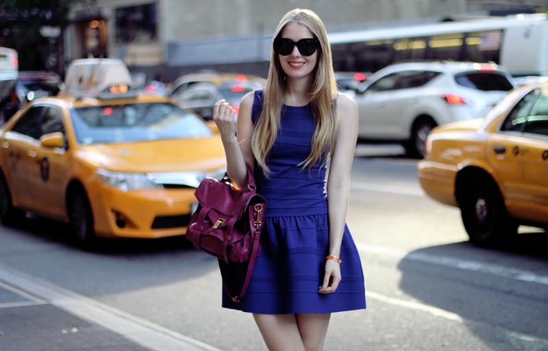 carolina engman, proenza schouler ps1 in orchid, celine audrey sunglasses, new york, maje electric blue dress, outfit
