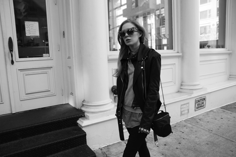 carolina engman, jnby leather jacket, anna karin karlsson sunglasses, stylescrapbook for kippling, new york, outfit
