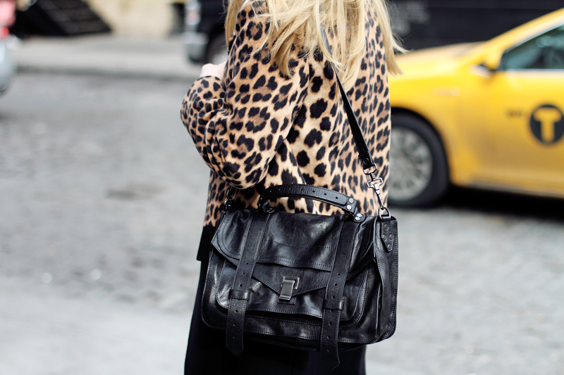 fashionsquad, nyfw, carolina engman, equipment, green cashmere sweater, emerald, carvela heels, proenza schouler ps1 black, zara leopard coat, celine audrey sunglasses