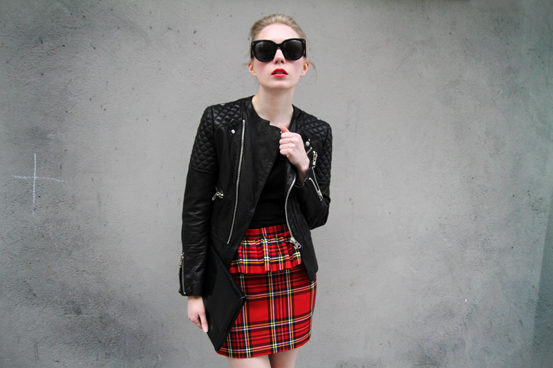 carolina engman, punk chic, tartan skirt, leather jacket, peplum skirt, celine audrey sunglasses