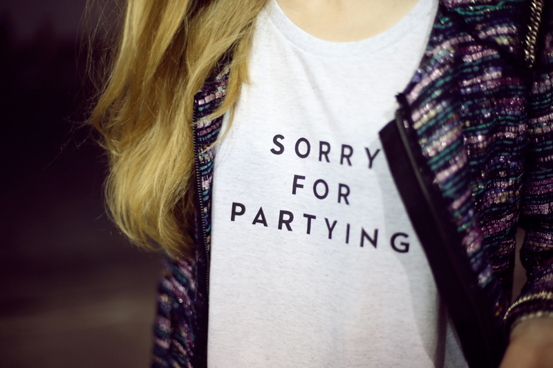 sorry for partying milly t-shirt