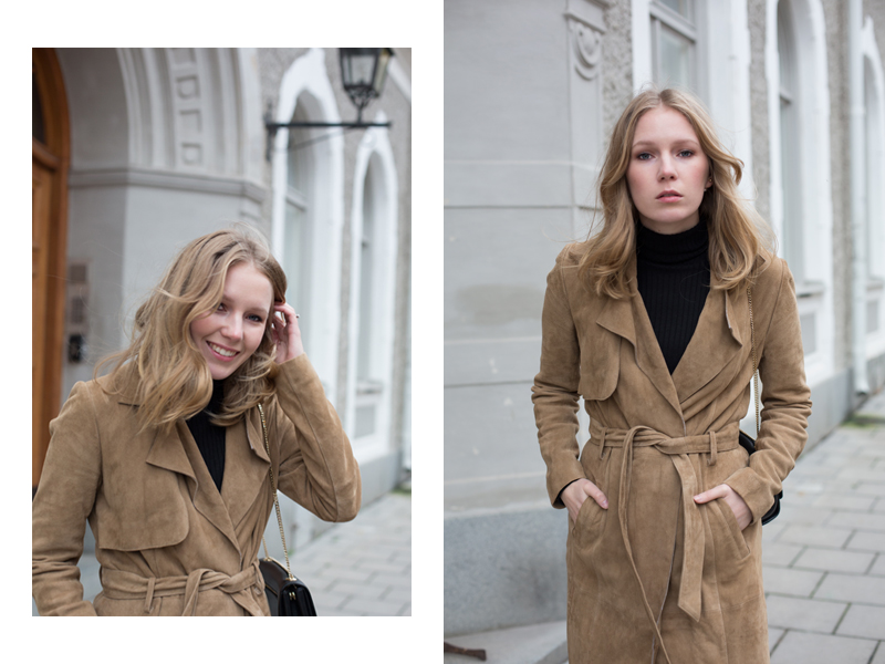 the perfect suede trench