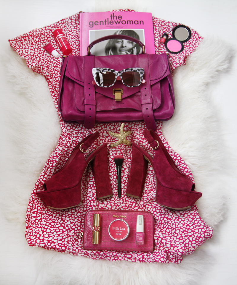 pink moodboard, pink, miu miu wallet, proenza schouler ps1 pink, orchid, starfish bracelet, anna karin karlsson sunglasses