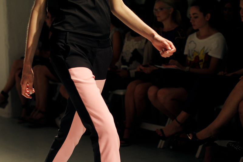tibi spring summer 2013 black and pink pants