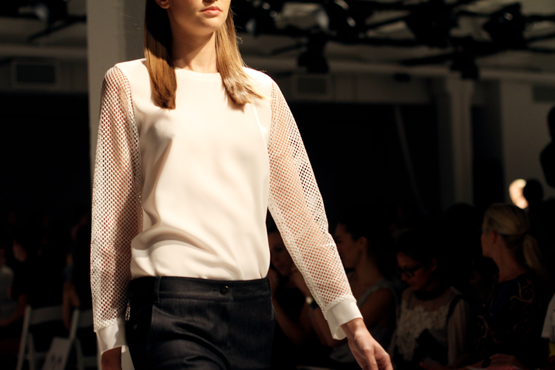 tibi spring 2013 white mesh top