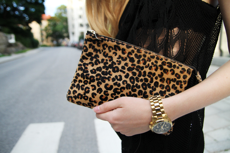 zara leopard clutch, michael kors gold watch, dagmar irena lace top, carolina engman, fashionsquad.com