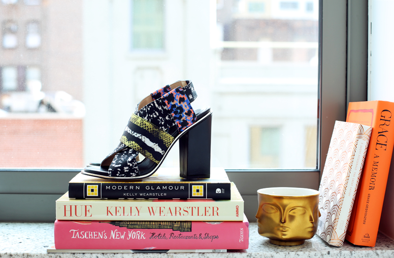 zara print sandals + Jonathan Adler muse d'or candle via fashionsquad.com