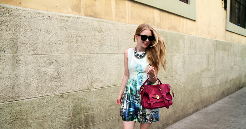 carolina engman, zara underwater dress, proenza schouler ps1 orchid, mango necklace, celine audrey sunglasses