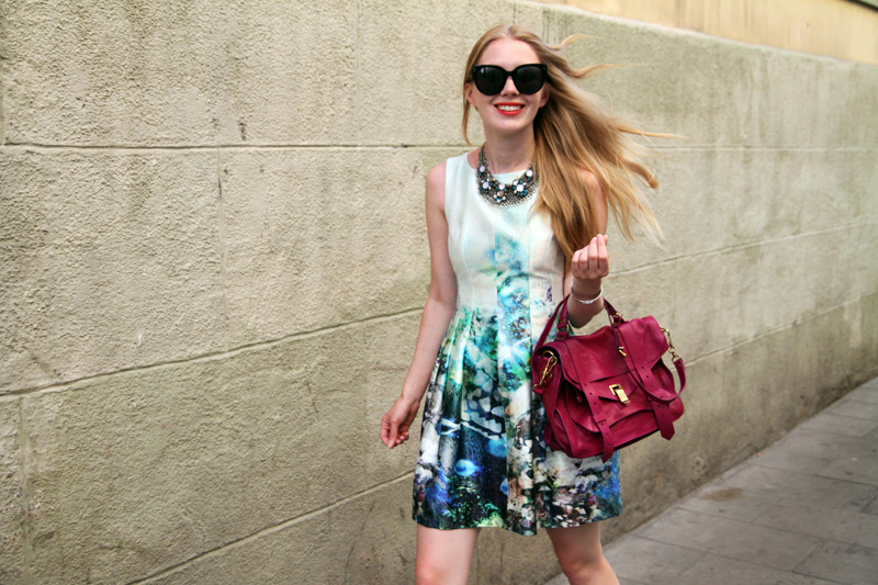 zara underwater dress, carolina engman zara dress, fish dress, proenza schouler ps1